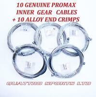 10 X UNIVERSAL CYCLE INNER GEAR CABLES + 10 ALLOY CRIMPS, ROAD, MTB, SHIMANO ETC