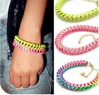 1pc Girls Lady Gold Candy Tone Chain Handmade Twine Rope Bracelet Fashion