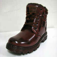 New Men's Winter Boots Brown Ankle Fashion Fur Full Lined Zipper Warm Sizes:7-13