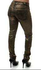 AKADEMIKS Gold Skinny Jeans * METALLIC * Womens Colored Slim Shimmer Pants