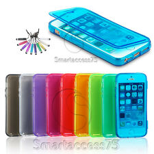 HOUSSE COQUE COVER ETUI SILICONE GEL POUR IPHONE 4 4S 5 5S 5C 6 6+/+ FILM STYLET