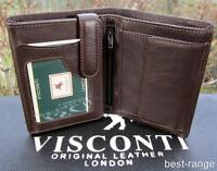 Mens Wallet Soft Real Leather Brown Visconti New in Gift Box Quality Style HT11