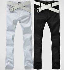 fashion Men Casual Slim Straight Fit Skinny Trousers Long Pants