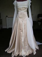CUSTOM MADE NEW PAGAN MEDIEVAL WEDDING DRESS CHAMPAGNE GOLD OYSTER IVORY CREAM
