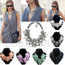 CHARM CRYSTAL FLOWER CHOKER CHUNKY STATEMENT BIB PENDANT CHAIN COLLAR NECKLACE