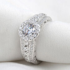 2.7CT White CZ 925 Sterling Silver Gold Plated Wedding Engagement Ring Size 6-9