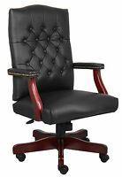 BLACK LEATHER EXECUTIVE OFFICE CHAIR WITH MAHOGANY WOOD BASE B905BK