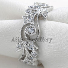 0.2CT Round CZ Silver Gold Plated Flower Engagement Wedding Band Eternity Ring