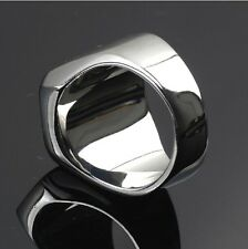 High Polished Signet Solid 316L Stainless Steel Biker Ring Men's Jewelry Silver