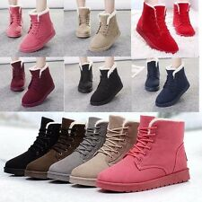 Women's Flat Lace Up Fur Lined Winter Martin Boots Snow Ankle Boots Casual Shoes