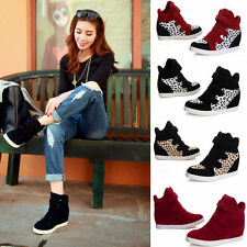 Women Girl Wedge High Platform Casual Shoes Sneakers Mid Calf Flats Ankle Boots