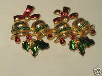 Vintage Christmas Pin Bells & Holly