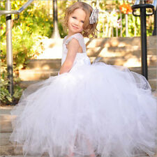 Wedding Party Flower Girls Easter Popular dresses Pageant Gown White Size 4 8 12
