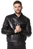 '70'S RETRO BOMBER' Men's BLACK Cool Classic Soft Italian Nappa Leather Jacket