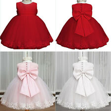 New Princess Bowknot Tulle Cake Layer Dress Baby Girl Prom Party Formal Dress