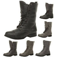 WOMENS LADIES MILITARY LOW HEEL FLAT LACE UP BIKER ARMY COMBAT ANKLE BOOTS SIZE
