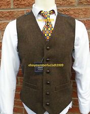 *MENS WOOL BROWN TWEED WAISTCOAT VEST DONEGAL STYLE - ALL SIZES S M L XL XXL