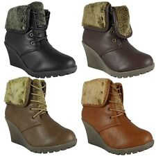 WOMENS LADIES LACE UP FUR COLLAR WEDGE GRIP SOLE WORK ANKLE BOOT SHOE SIZE 2-8