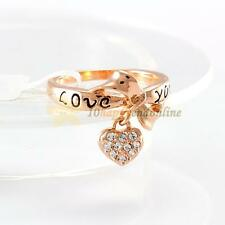 Luxury Women 18K Gold Plated Fashion Jewelry Crystal Rhinestone LOVE Heart Ring