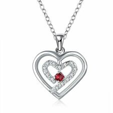 Women Fashion 925 Sterling Silver Plated Heart Pendant Necklace Chain Jewelry @$
