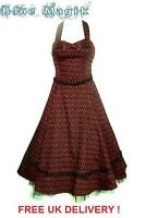 BLACK AND RED CHERRY VINTAGE 50'S ROCKABILLY SWING LONG PARTY PROM DRESS GOTH