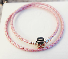 Genuine Pandora Pink Double Leather Bracelet w. Sterling Silver Clasp  41cm