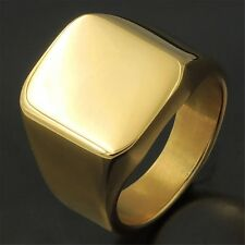 Men's Gold High Polished Signet 316L Stainless Steel Ring