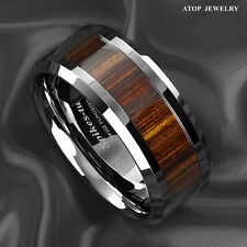 8mm Men's Tungsten Carbide Wood Inlay Beveled edge Wedding Band Ring