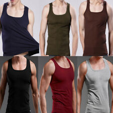 NEW Men's Plain T-Shirts Tank Top Muscle Camo Sleeveless Tee A-Shirt Cotton TOPS