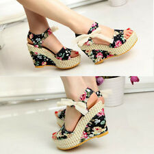 New Women Bowknot Open Toe Pump High Heel Shoes Wedge Platform Summer Sandals
