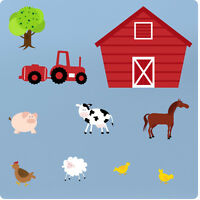 Childrens Farm Animals Nursery Bedroom Vinyl Wall Stickers Decals Art Decor Tree