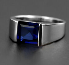 Size 8,9,10,11,12 Classic Men's Jewelry 4ct Blue Sapphire 925 Silver Band Ring