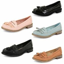 Womens Dolcis Flat Loafers Casual Black Ladies Fringe Tassel Office Shoes Pumps
