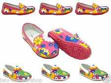 New Girls Kids Leather Lined Fancy Flowers Slip On Moccasins Loafers Shoes Size