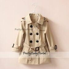 NEW GIRLS Kid's double-breasted Belted Hooded Trench Coat Wind Jacket Outerwear