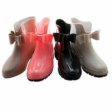 New Womens Short Ankle Rubber Rain & Snow Boots With Bow Waterproof,Size 5-11