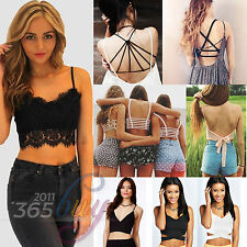 Sexy Padded Bra Crop Tops Women Sports Vest Cut Out Shirt Lace Tank Tops Bustier