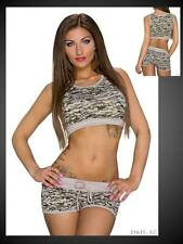 Zweiteiler Set bauchfreies Top + Hotpants Shorts camouflage taupe 34 36 (1092)