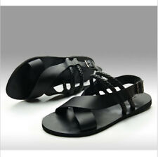 Men's New Patent Leather Comfortable Flat Heel Gladiator Roman Casual Sandals
