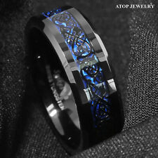 8Mm Tungsten Carbide Ring Black Celtic Dragon Blue carbon fibre Mens Jewelry