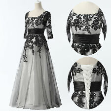 PLUS SIZE 20 22 24 Long Lace Wedding Evening Formal Party Ball Gown Prom Dress
