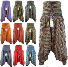 Women's Hippy Low Crotch Baggy Harem Stripy Yoga Elastic Nepalese Pant Trousers