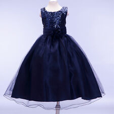 10 Colors Kid Girl Formal Dress Wedding Sequined Baby Party Ball Gown 100-160cm