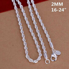 New Fashion Men 2MM 925 Silver Chain Men Wrest Wire Rope Necklace 16-24 inch