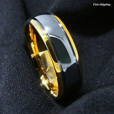 8mm Dome 18K Gold Mens Tungsten Ring Wedding Band Bridal Jewelry Size 6-13
