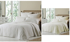 EMBROIDERED LUXURY WHITE CREAM QUILTED BEDSPREAD BED DUVET QUILT THROW COVER