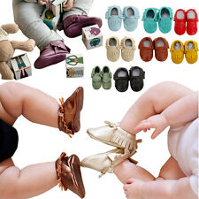 Baby Boys Girls Soft Leather Pre Walker First Shoes Moccasins Causal 6-24Months