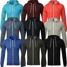 New Plain Mens American Fleece Zip Up Hoody  Sweatshirt Hooded Zipper Top S-XL