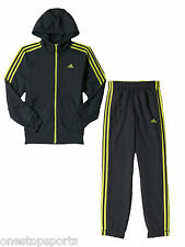 adidas boys dk grey fleece tracksuit. Jogging suit. Tracksuit. Ages 9-10 & 11-12