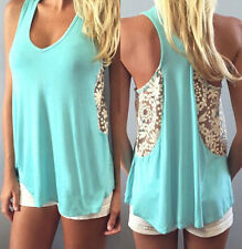 Fashion Summer Ladies Womens Sexy Casual Tops Shirt Blouse Tank Lace Vest
